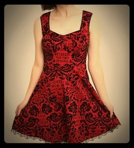 AHS beautiful red and black flocked dress